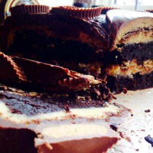 Flourless Chocolate-Peanut Butter Ganache Cake