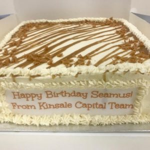 Square cake with banner