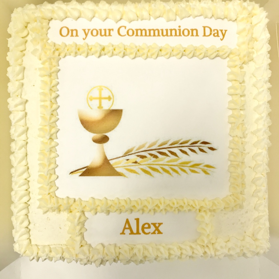 Square cake with image of communion