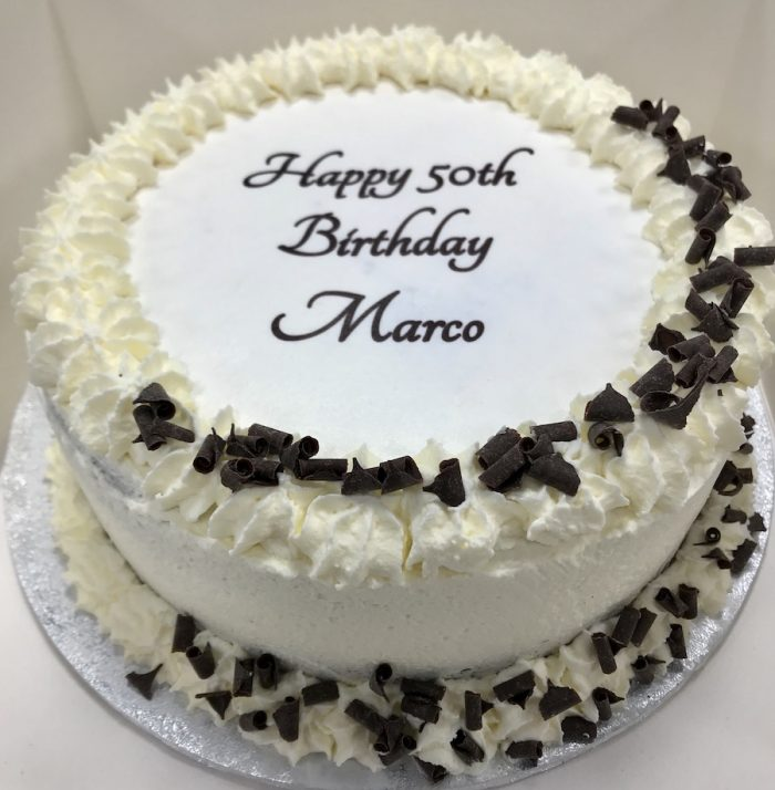 Round Happy 50th Birthday cake