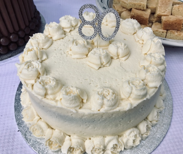 8-inch Vanilla Gateaux with 80th birthday decor